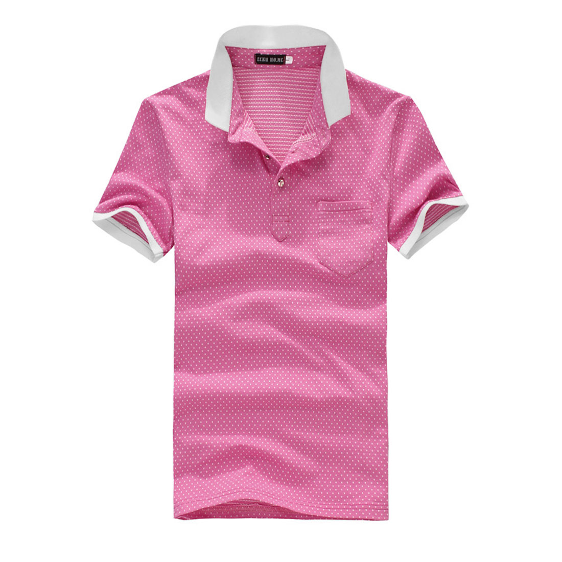 Men Pocket Single Breasted Point Collar Polo Dots Shirt Fuchsia M