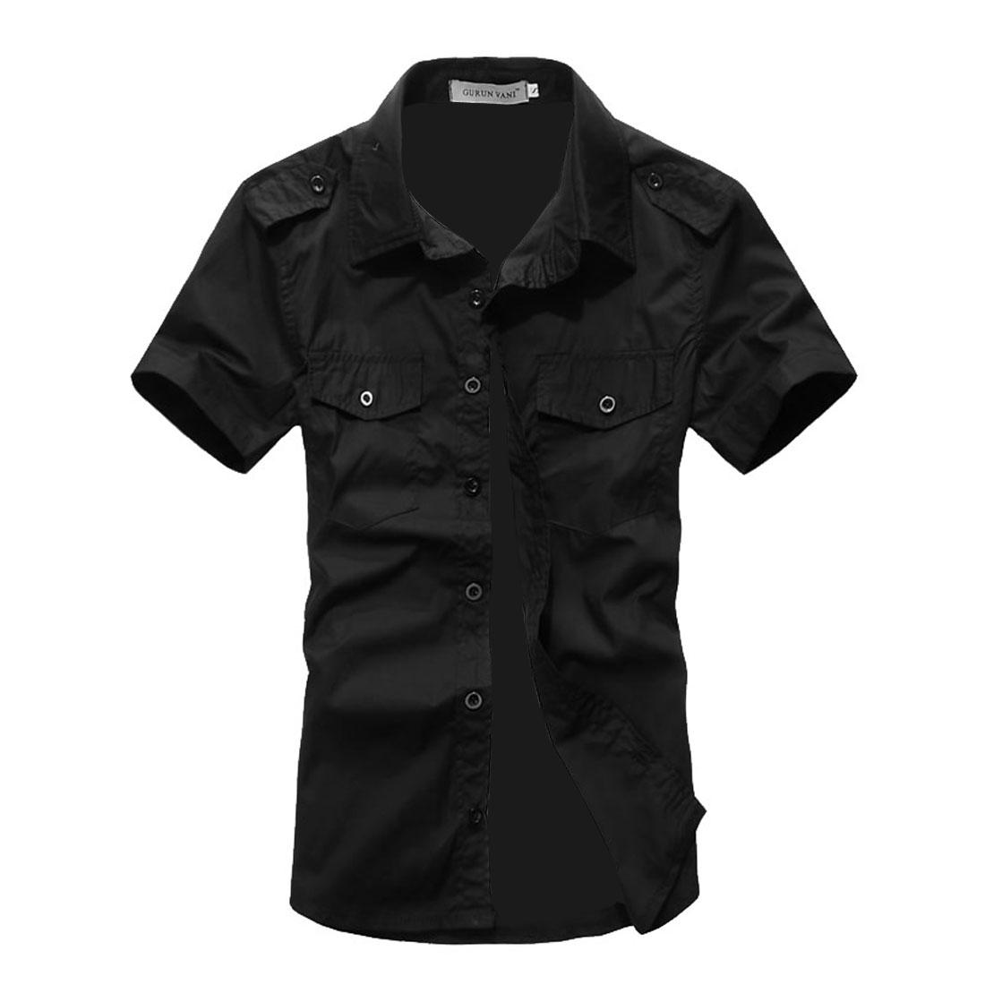 Man Buttons Decor Chest Pockets Epaulet Modern Shirt Black L