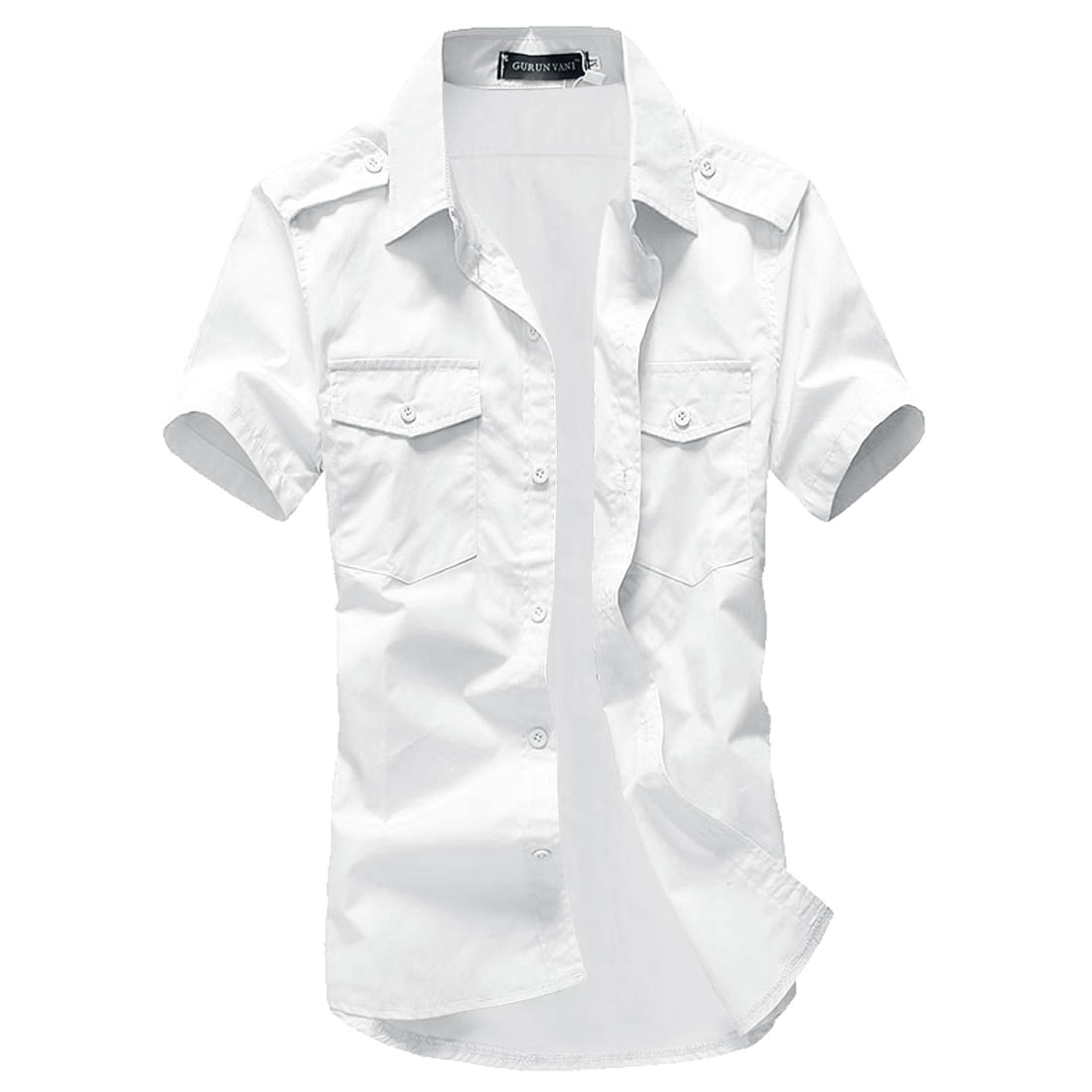 Man Korean Style Short Sleeves Point Collar Shirts White L
