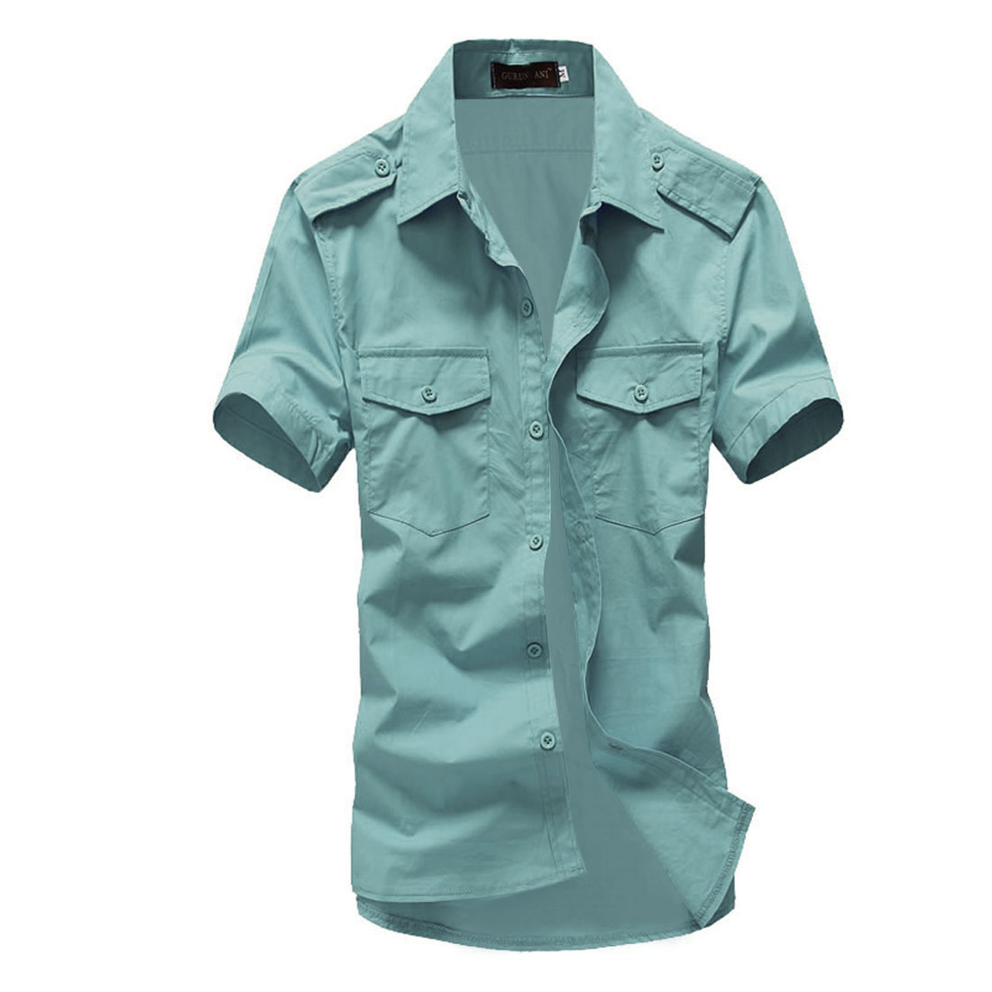Men Single Breasted Epaulette Flap Pockets Shirts Mint L
