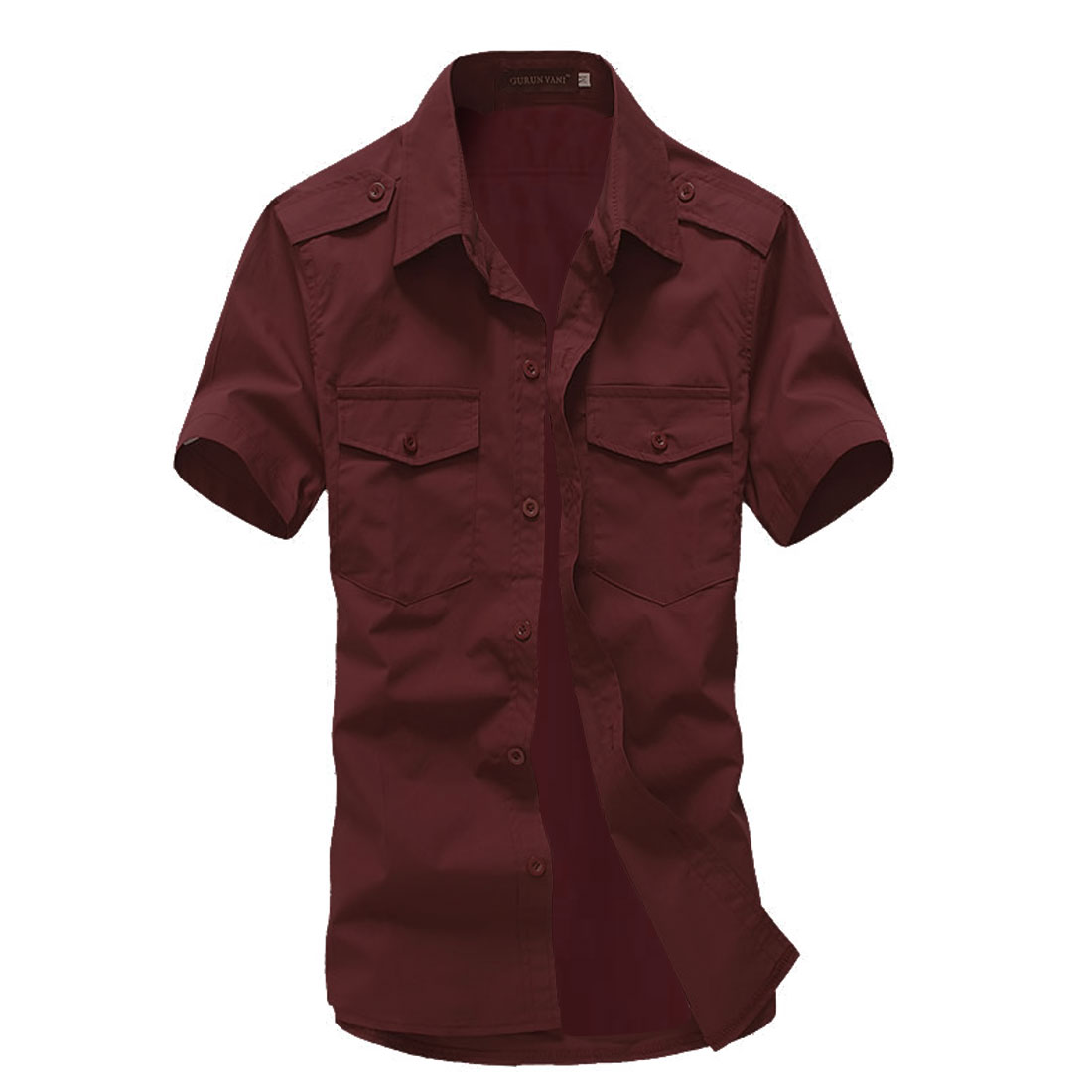 Men Short-sleeved Buttons Front Flap Pockets Shirt Burgundy L