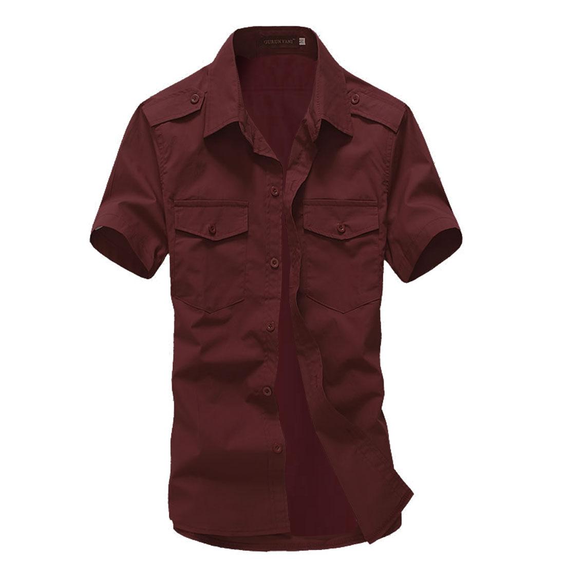 Men Short-sleeved Buttons Front Flap Pockets Shirt Burgundy L