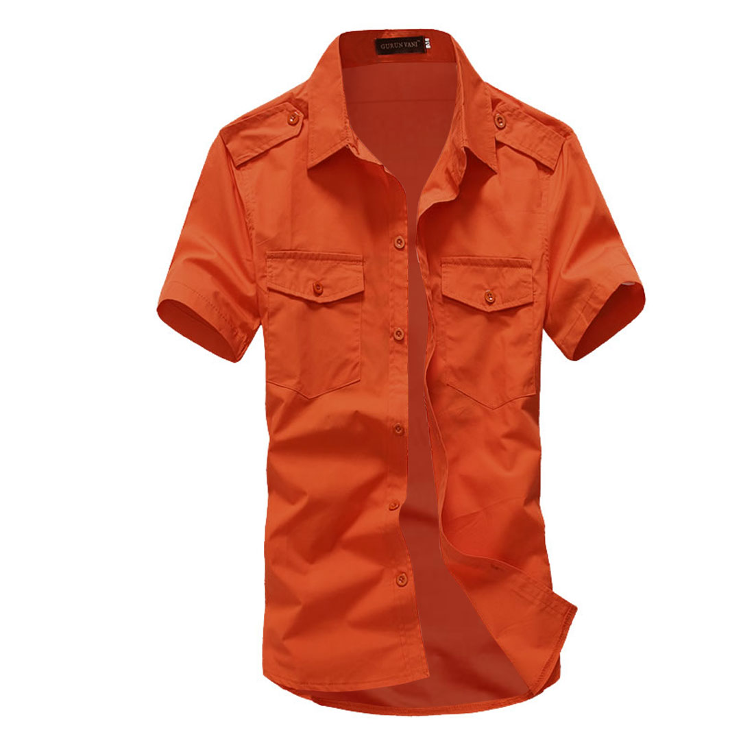 Man Solid Color Short Sleeves Point Collar Shirt Orange-red L