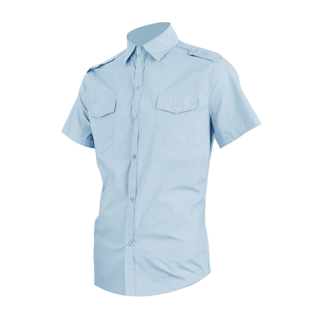 Men Chest Flap Pockets Single Breasted Spring Shirt Light Blue L