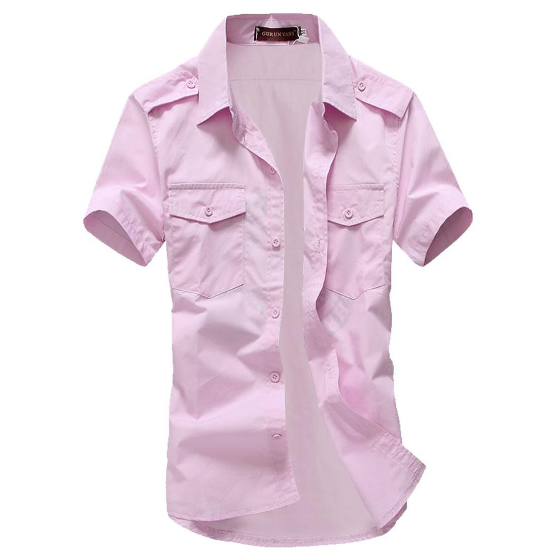 Men Short-sleeved Buttoned Front Flap Pockets Shirt Light Pink L