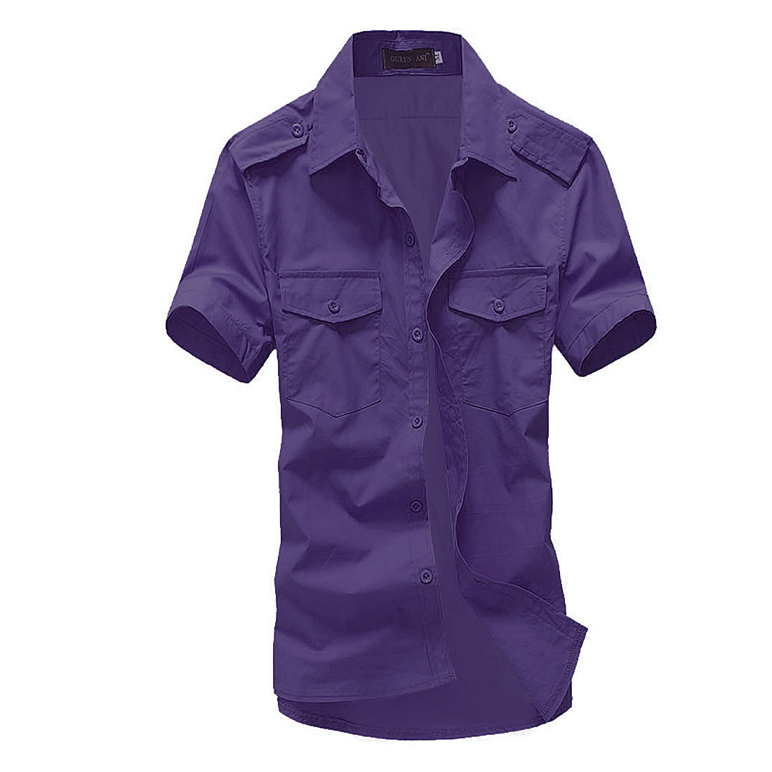 Man Pure Color Short Sleeved Point Collar Chic Shirts Purple L