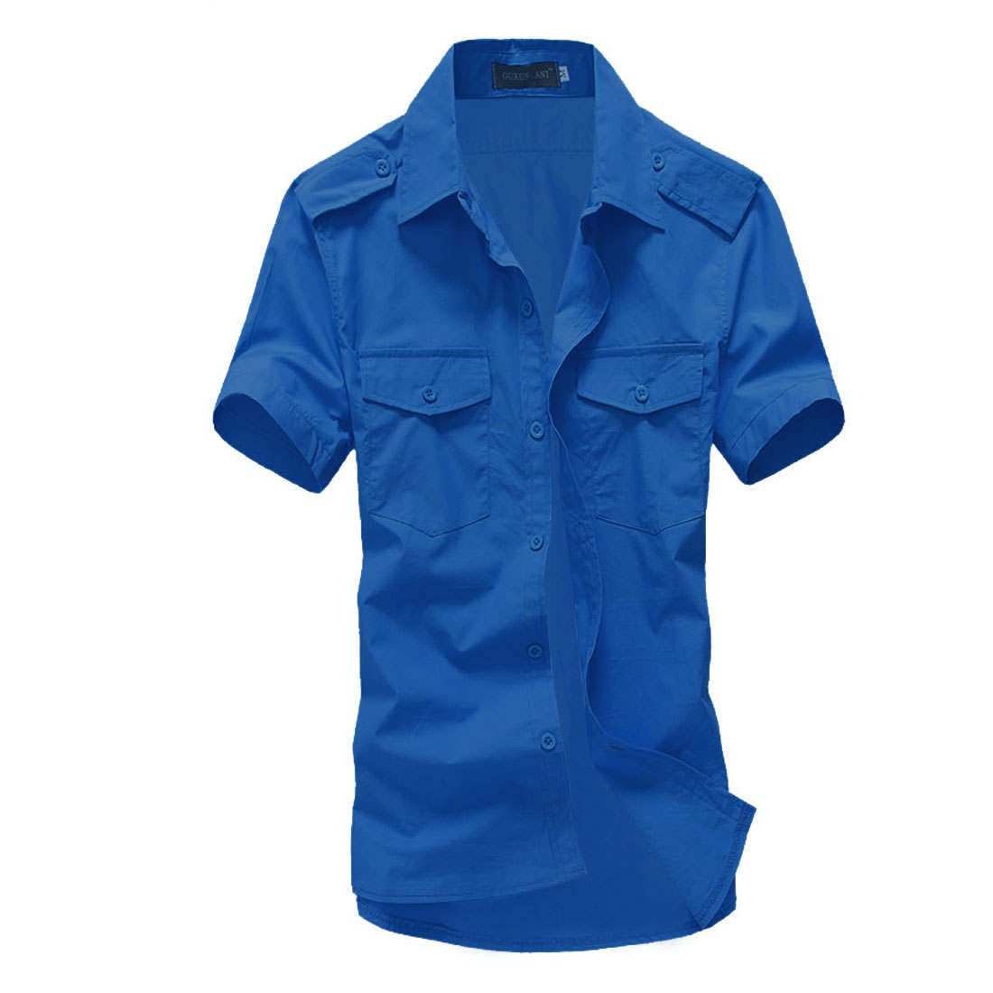 Man Buttoned Epaulettes Breast Pockets Stylish Shirt Royal Blue L
