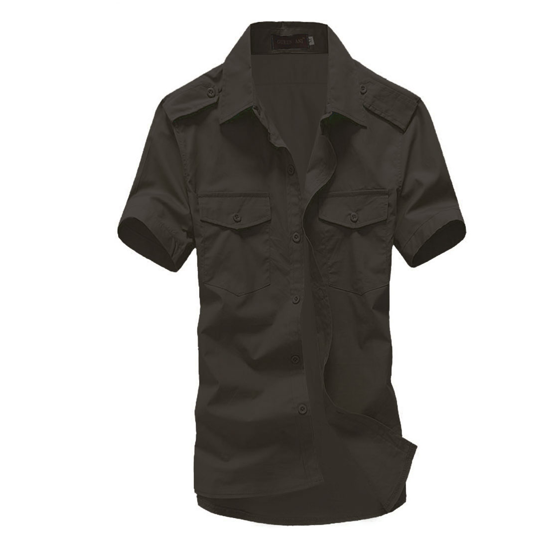 Men Short-sleeved Buttoned Front Flap Pockets Shirt Army Green L