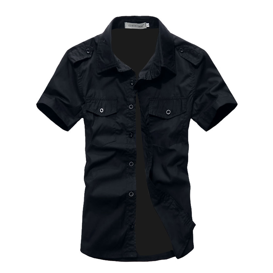 Men Chest Flap Pockets Single Breasted Spring Tops Dark Blue L