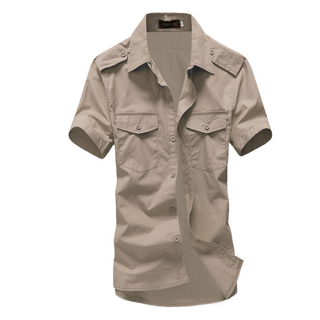 Men Breast Flap Pockets Single Breasted Fashion Tops Khaki L