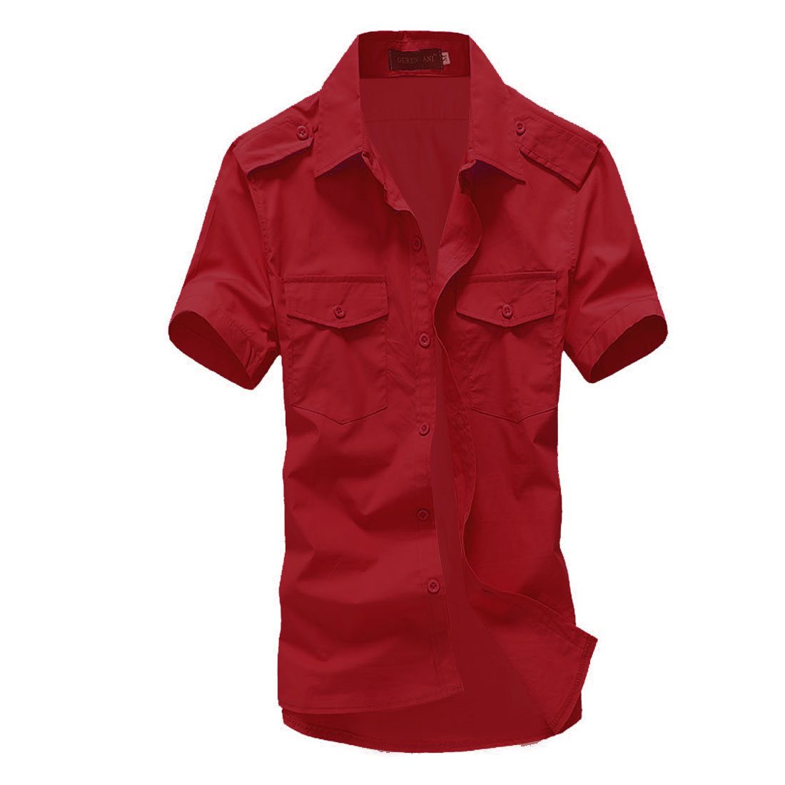 Man Buttoned Epaulet Breasted Pockets Stylish Shirts Red L