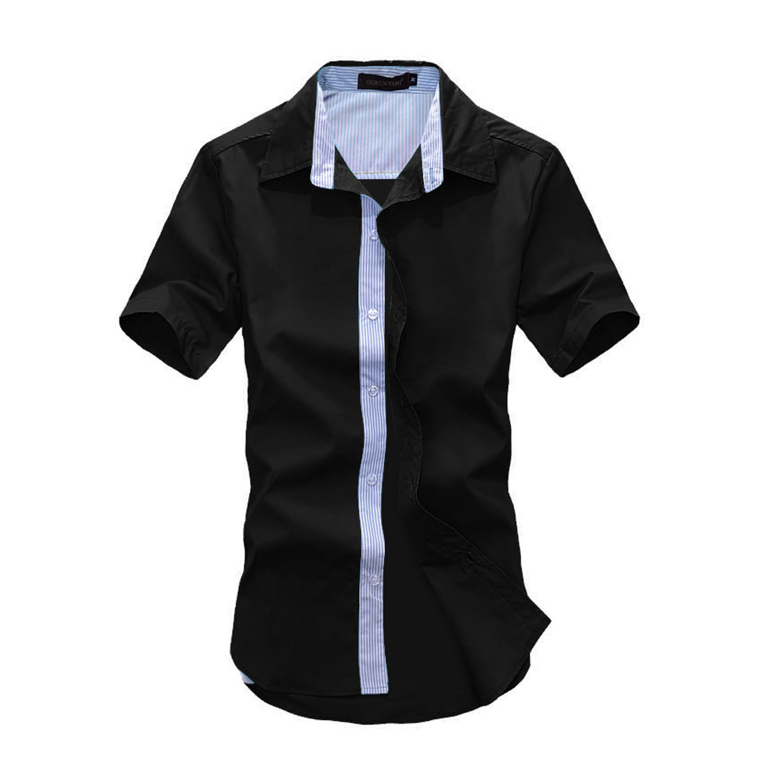 Man Korean Style Short Sleeves Point Collar Chic Shirt Black M