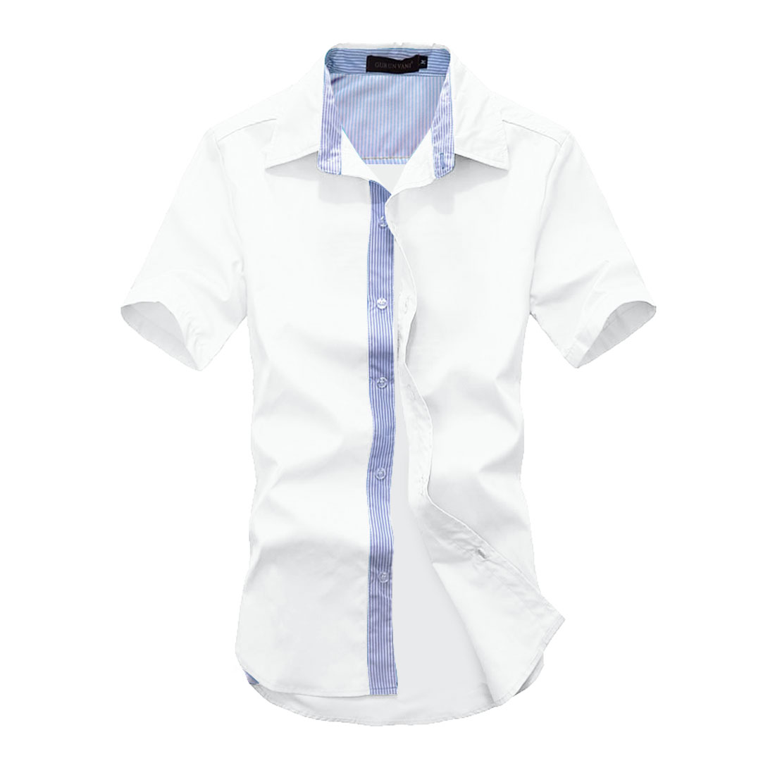 Men Striped Prints Short-sleeved Buttons Front Shirts White M