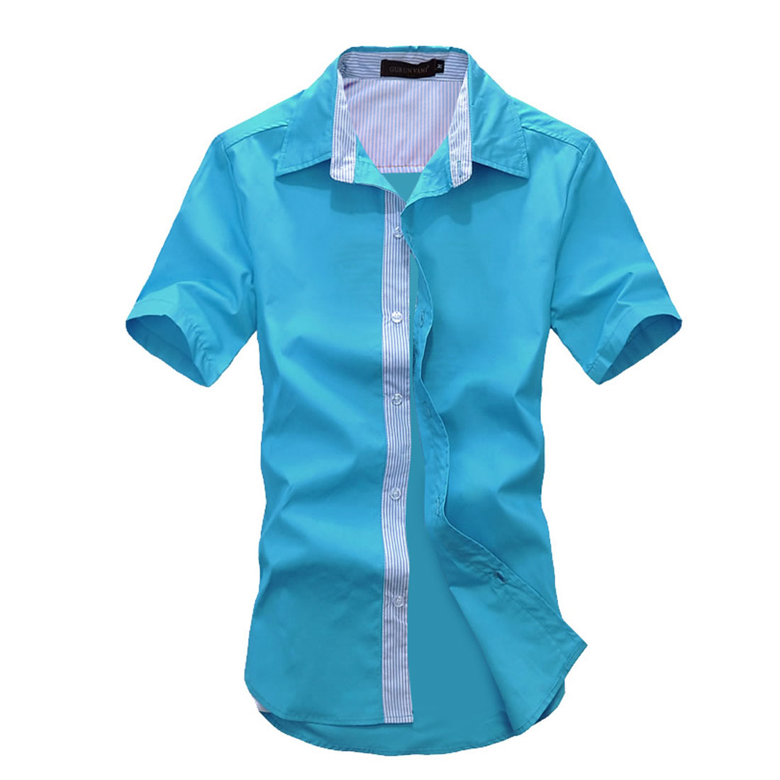 Man Buttons Front Striped Prints Stylish Shirt Sky Blue M