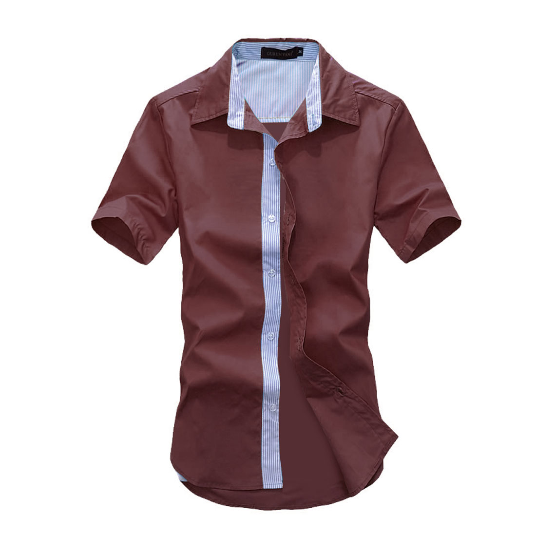 Men Single Breast Point Collar Fashion Spring Shirts Burgundy M