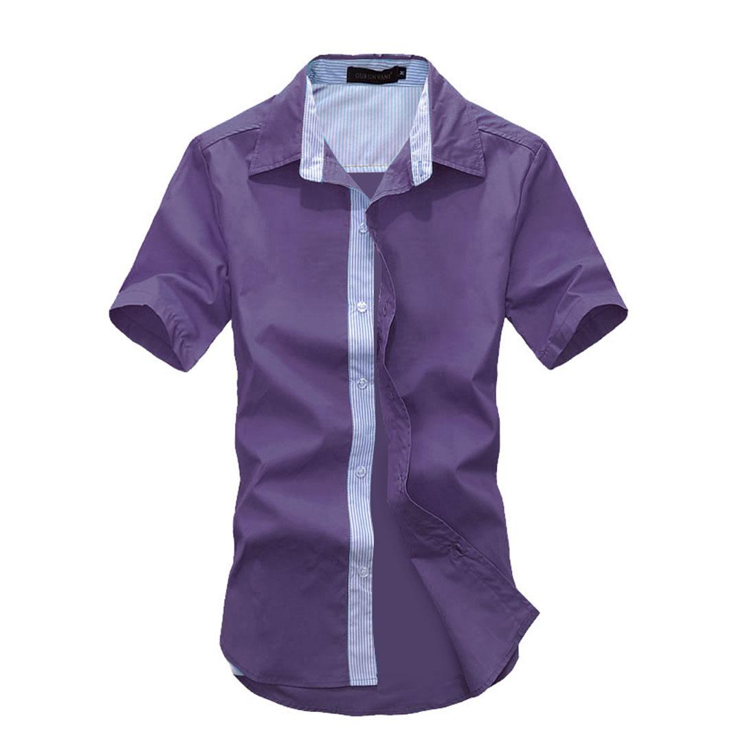 Man Point Collar Korean Style Striped Details Shirts Purple M