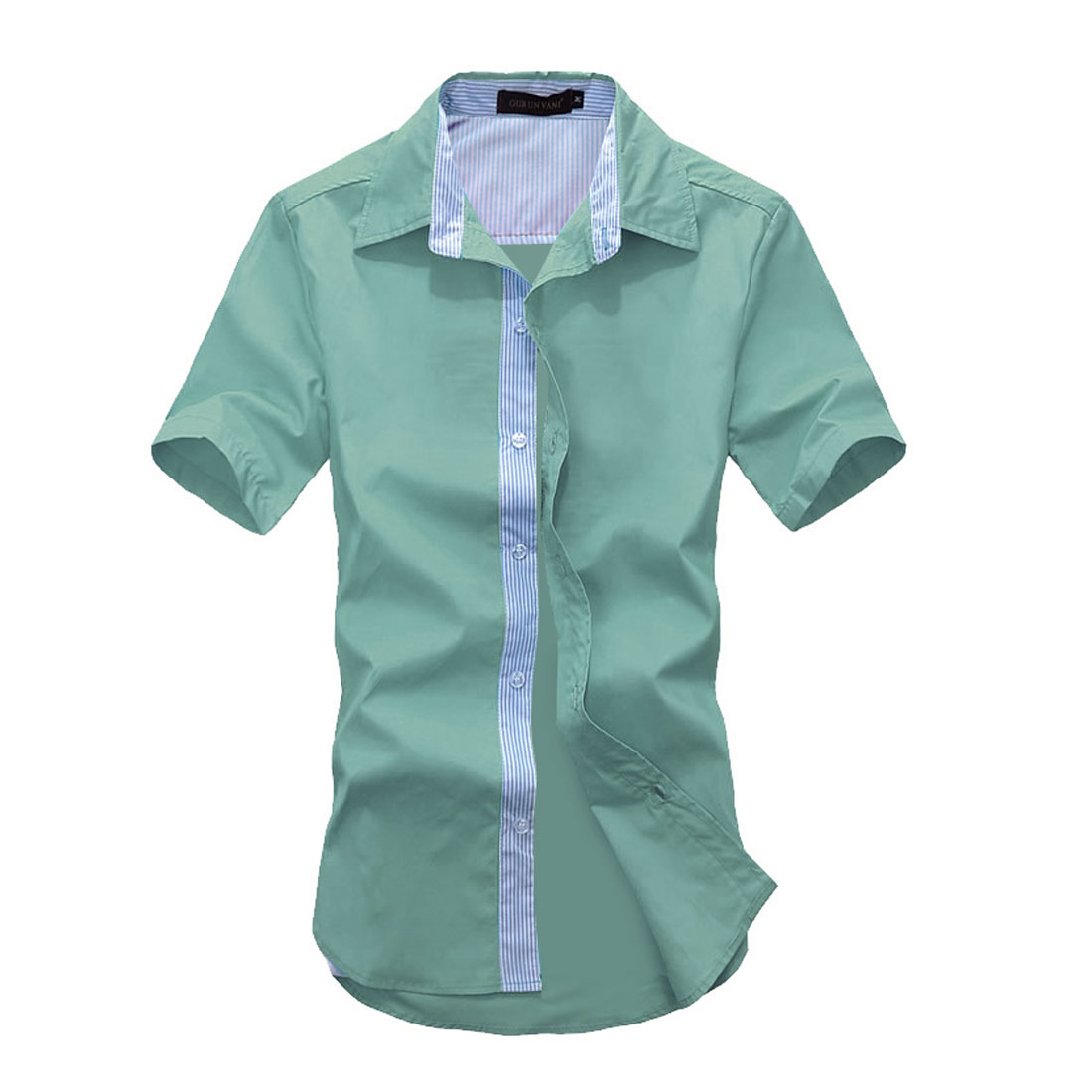 Men Panel Single-breasted Stripes Pattern Spring Shirt Mint M