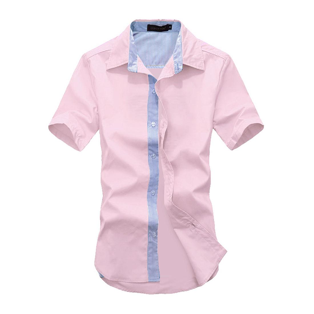 Men Striped Buttons Front Short-sleeved Tops Shirt Light Pink M