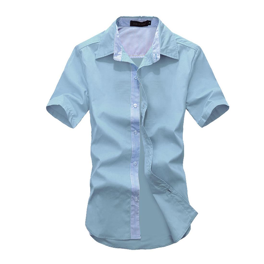 Men Stripes Buttons Front Short-sleeved Tops Shirts Light Blue M