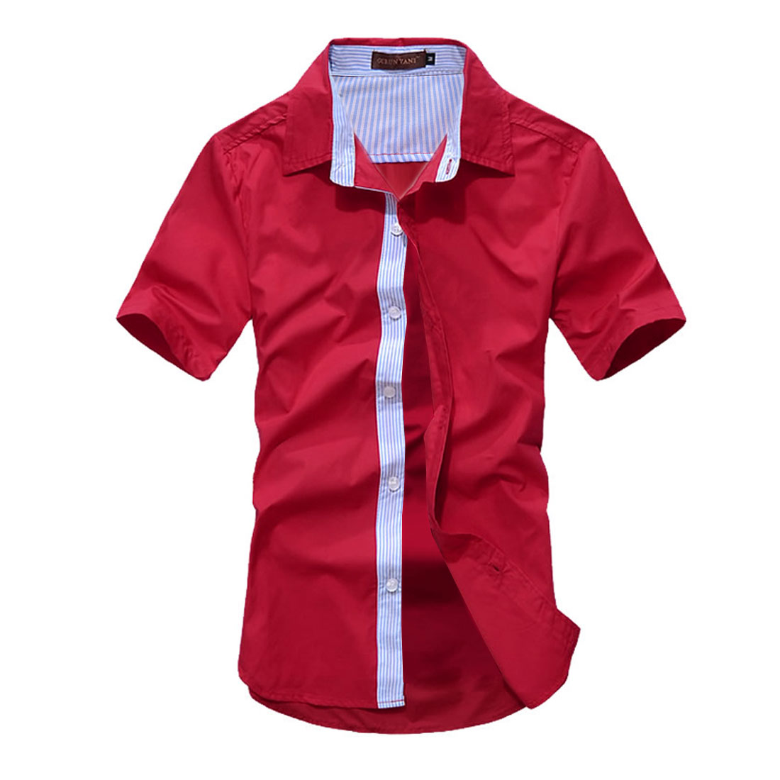 Man Stylish Buttoned Front Stripes Details Modern Shirt Red M