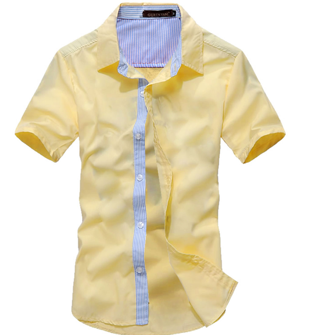 Man Stylish Buttoned Front Stripes Details Modern Shirt Light Yellow M