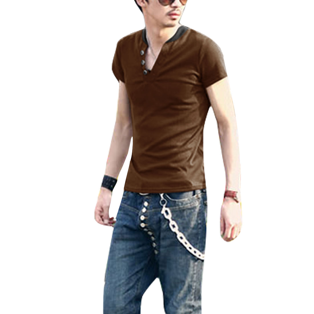 Man Short Sleeve V Neck Contrast Color Stylish Shirt Coffee M