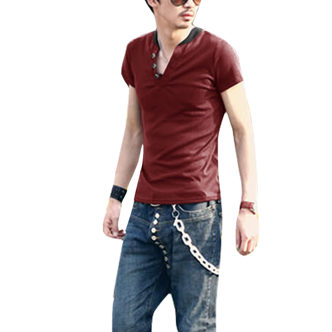 Man Contrast Color Splice V Neck Stylish Tops Shirt Burgundy M