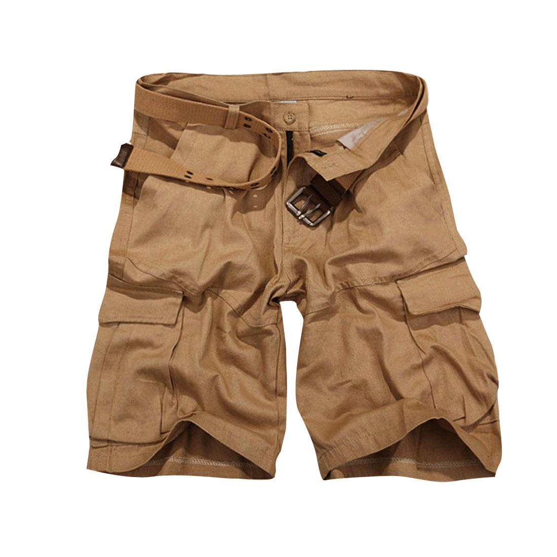 Men Zipper Fly Waistband Loop Big Hip Pockets Short Pants Khaki W32