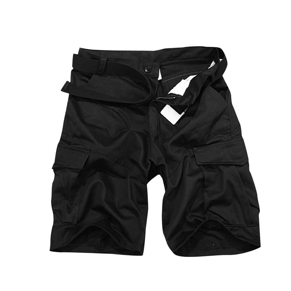 Man Hip Slant Pockets Belted Loop Fashion Shorts Trousers Black W32