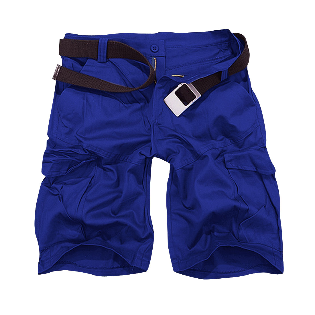 Men Zippered Fly Button Closure Hip Pockets Shorts Pants Royal Blue W32