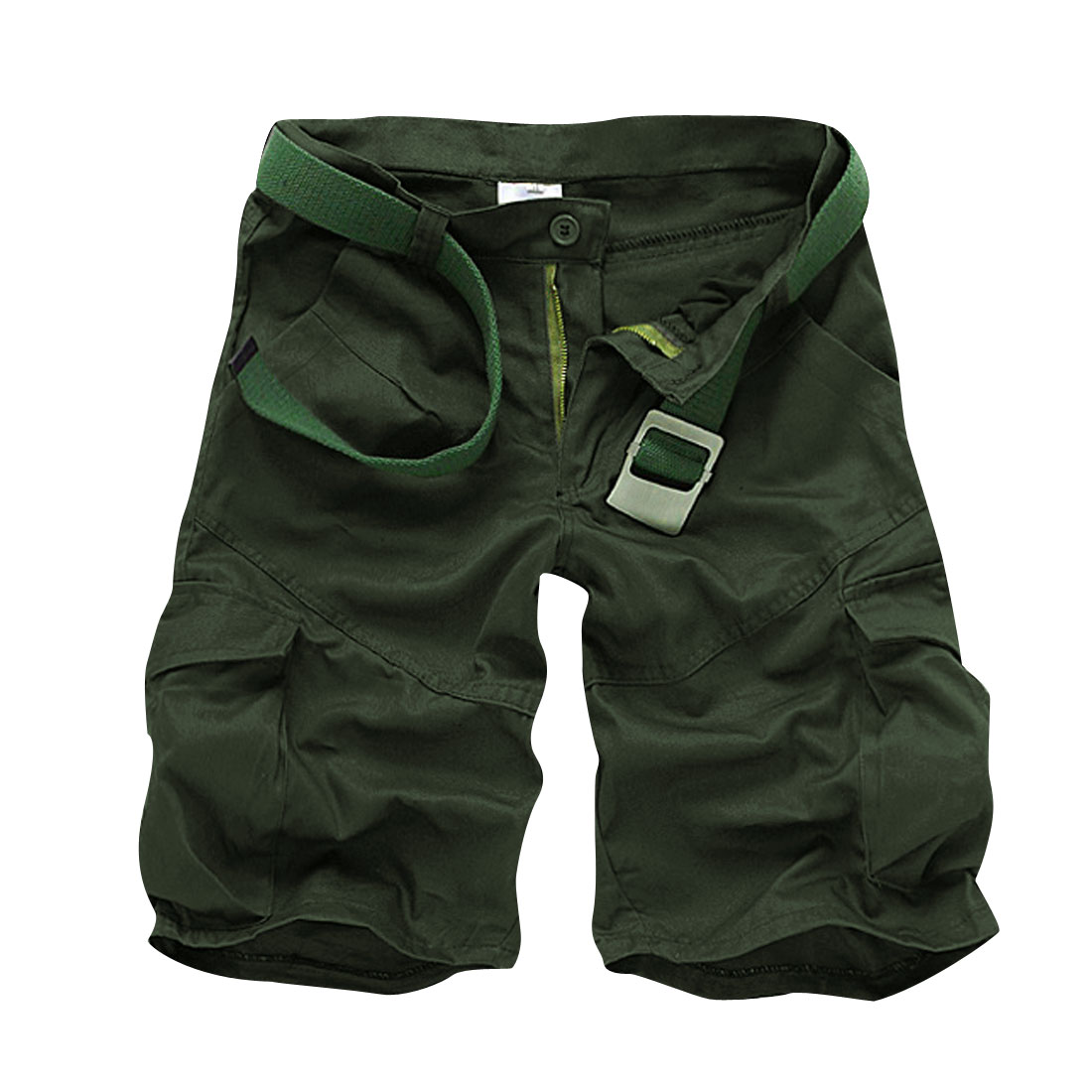 Men Zippered Fly Button Closure Hip Pockets Shorts Pants Olive Green W32