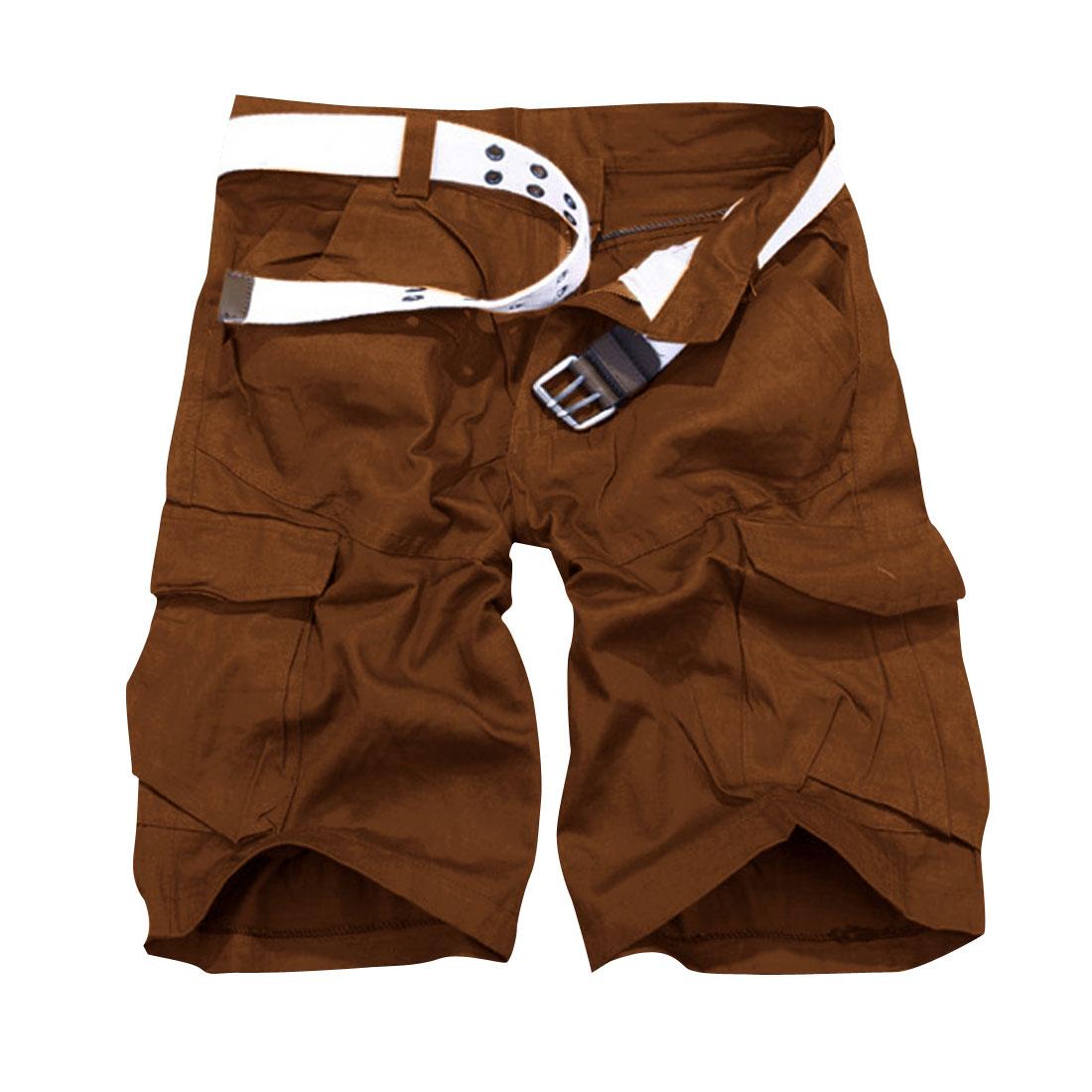 Man Big Flap Slant Pockets Casual Pure Color Shorts Camel W32