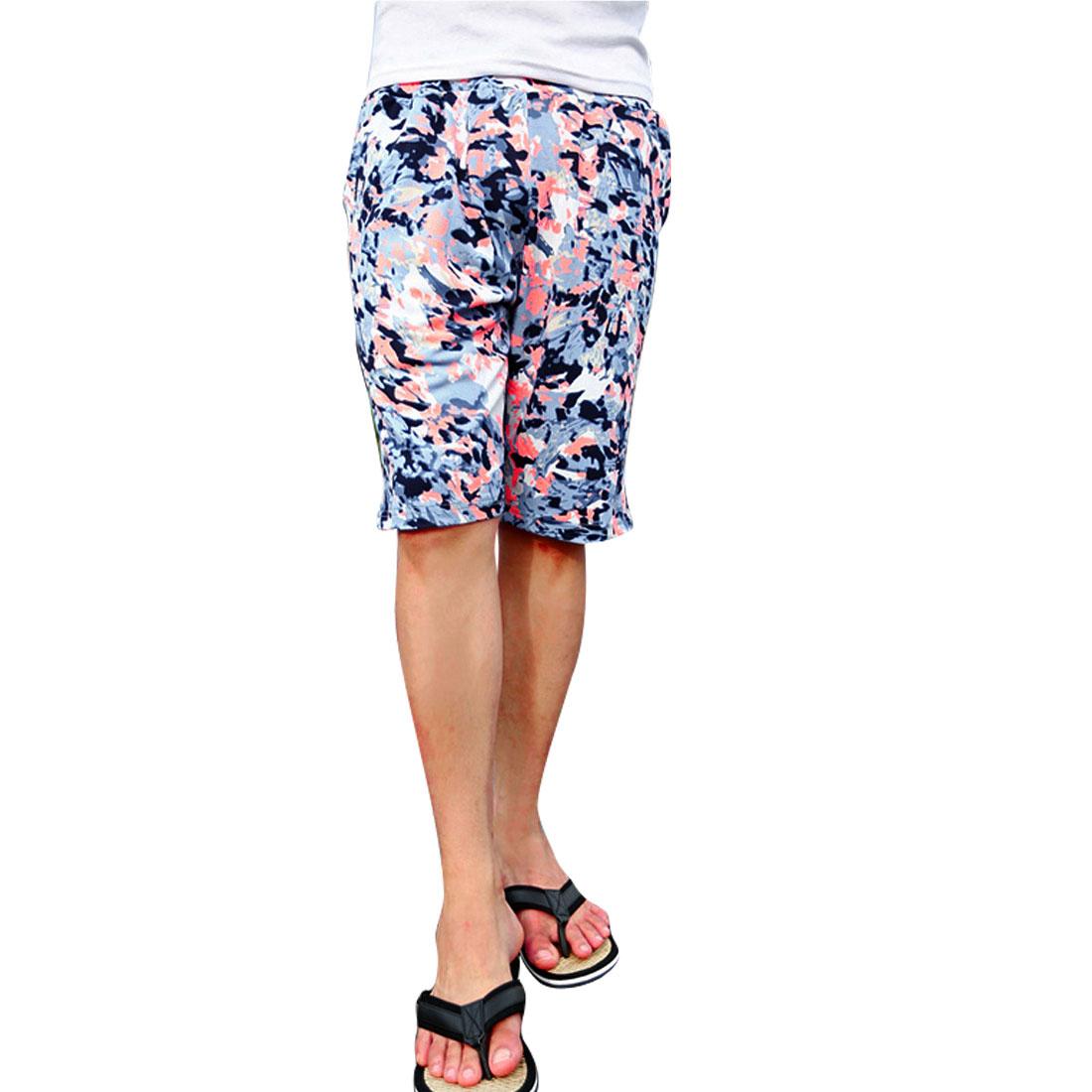 Men Two Slant Pockets Drawstring Waist Stretchy Summer Shorts Blue W29