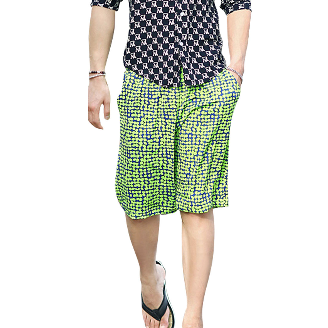 Men Slant Pockets Drawstring Waist Dots Pattern Beach Shorts Lime W29