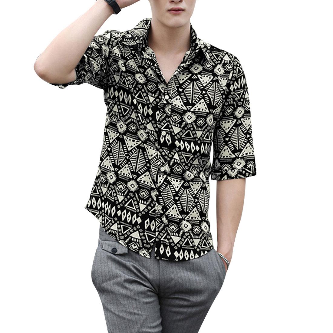 Men Half Length Sleeve Geometric Prints Buttoned Shirt Beige Black M