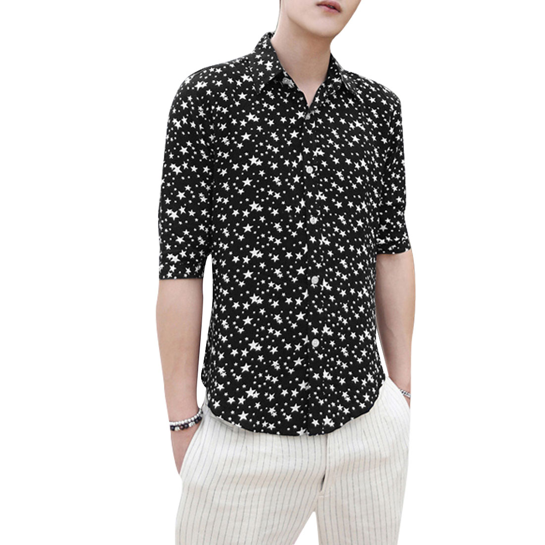 Men Chic Point Collar Buttoned Stars Prints Slim Fit Navy Blue Shirt M