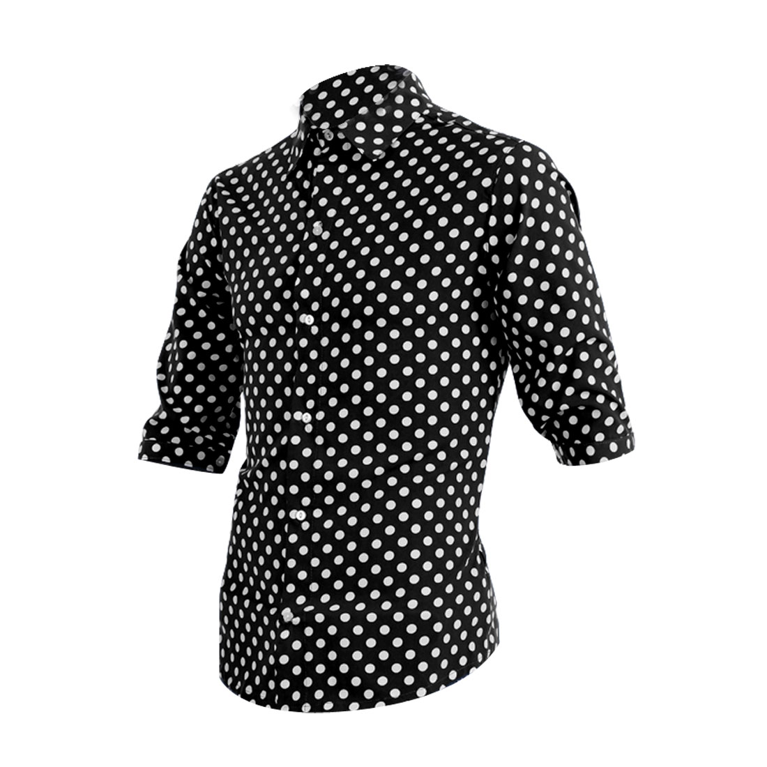 Men Single Breasted Buttons Front Chiffon Dots Tops Black White M