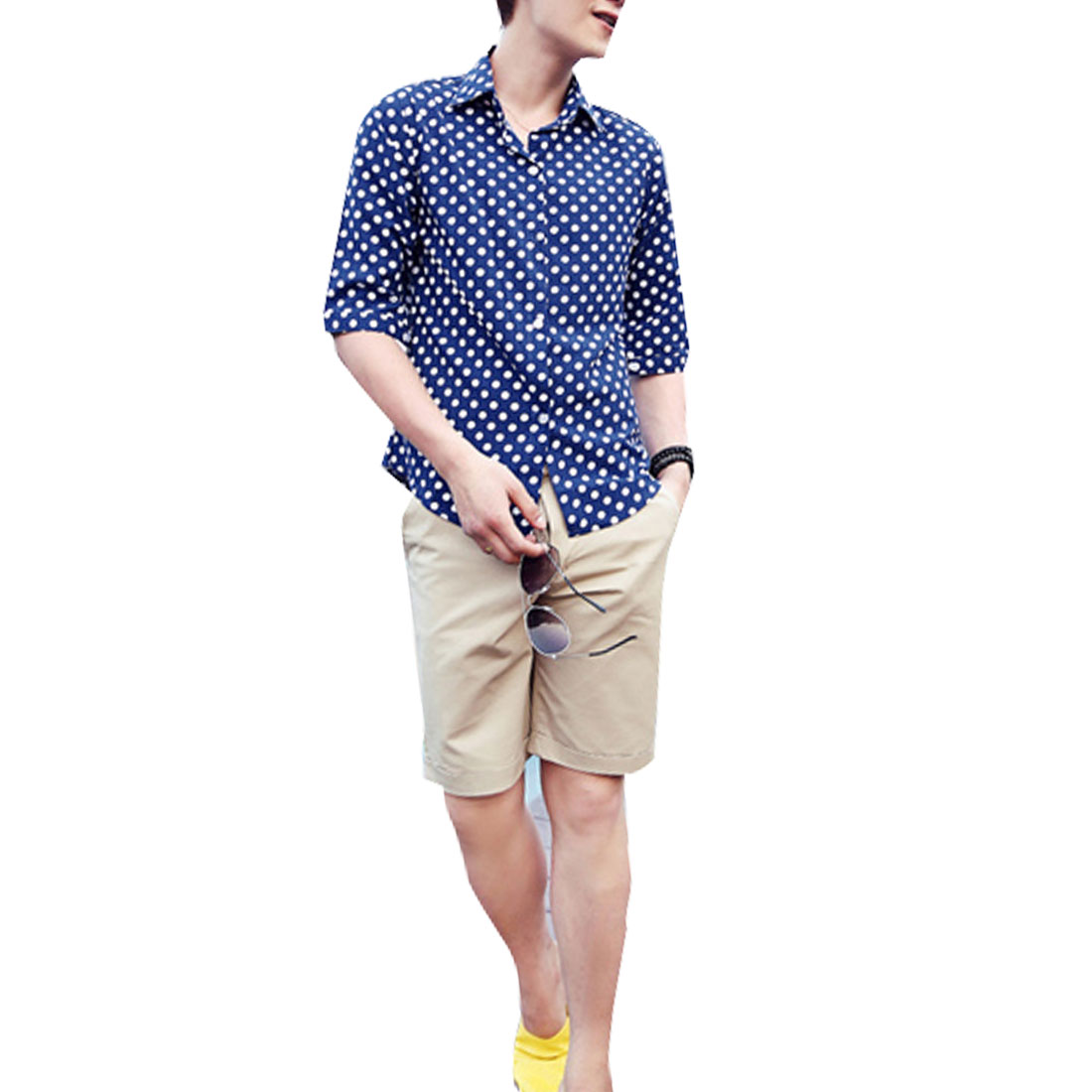 Men Buttoned Cuff Short-sleeved Dots Fashion Shirts Blue White M