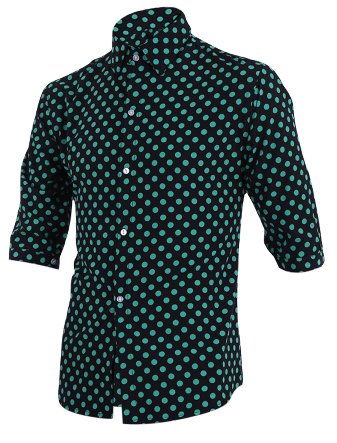 Man Half Sleeves Point Collar Contrast Color Shirts Green Black M