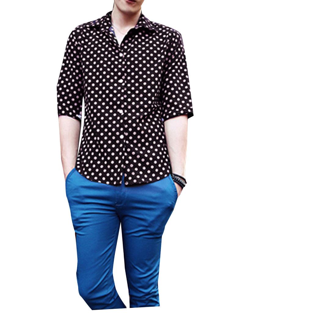 Man Contrast Color Dots Pattern Button-Front Chic Shirt Beige Black M