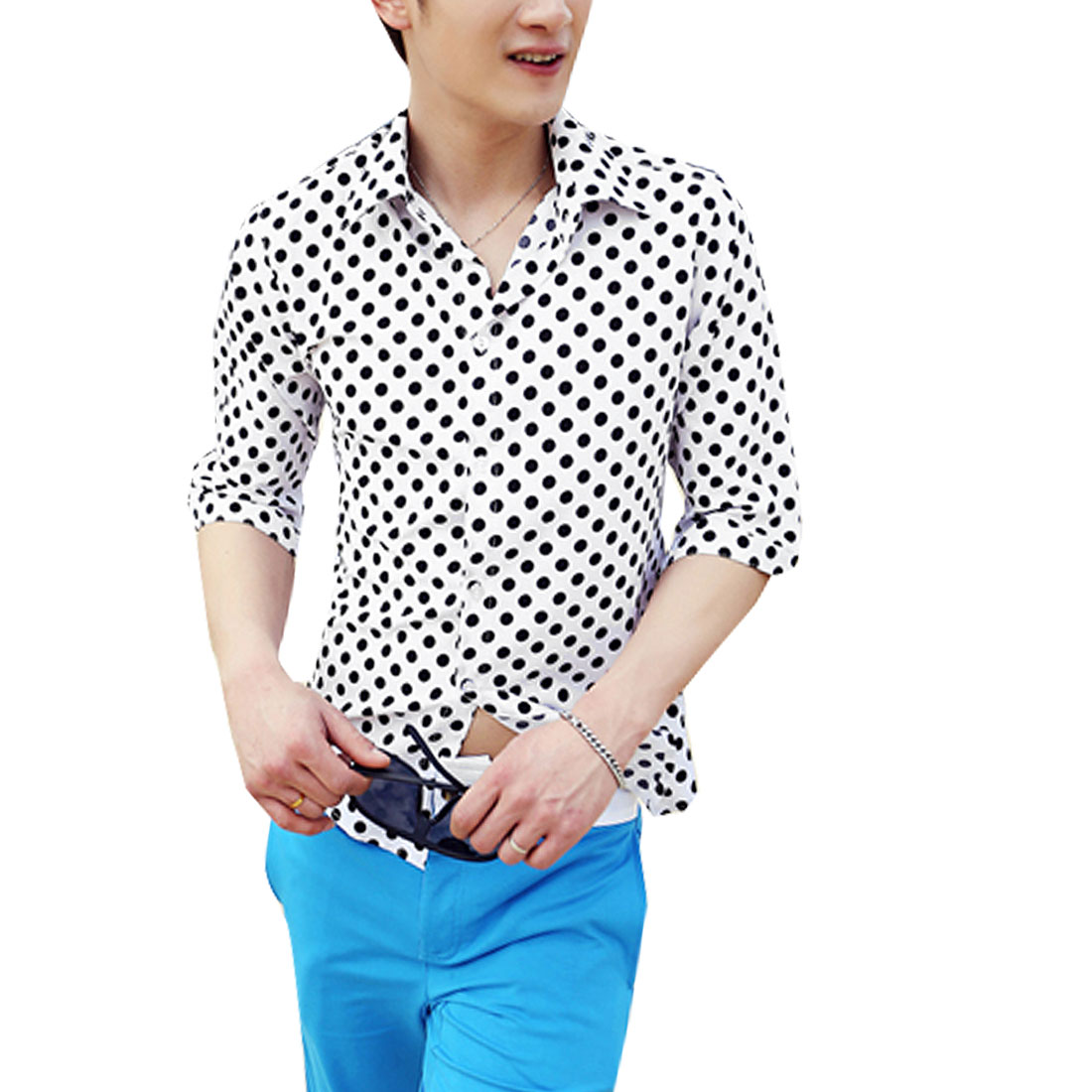 Man Contrast Color Dots Design Button-Front Chic Shirt White Black M