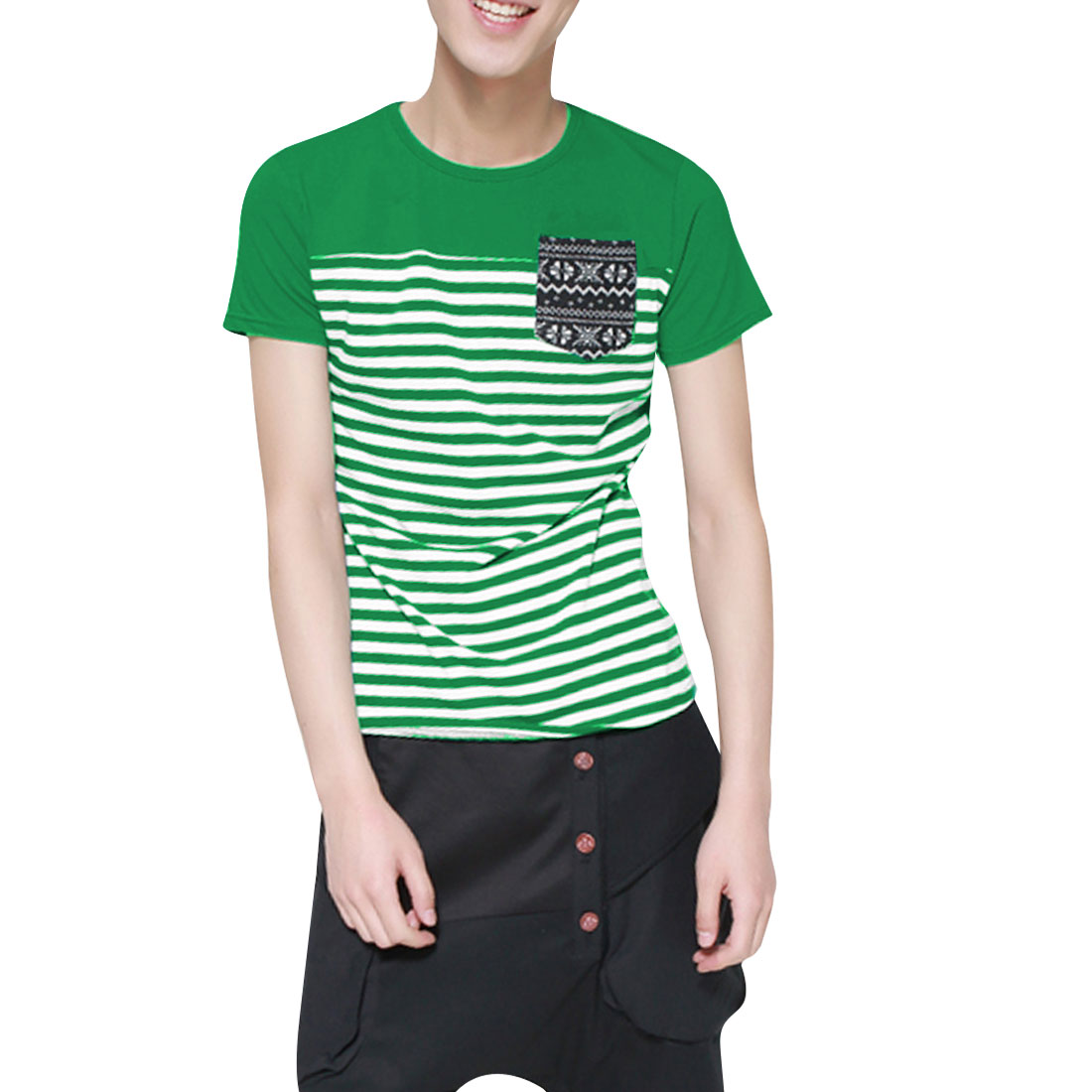 Man Round Neck Short Sleeves Striped Pocket Chic Shirt Green S
