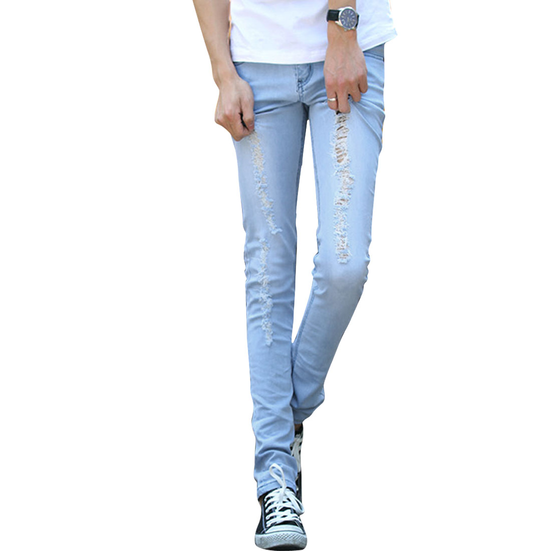 Men Belt Loops Button Closure Destroy Detail Zipper Fly Jeans W34 Blue