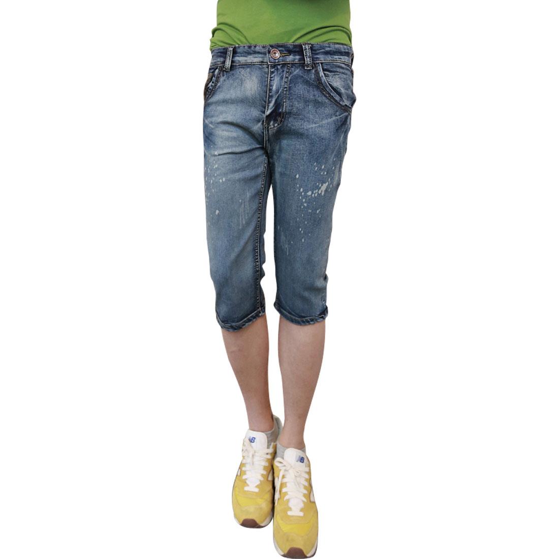 Men Hidden Zipper Belt Loops Button Closure Slim Fit Shorts W32 Blue