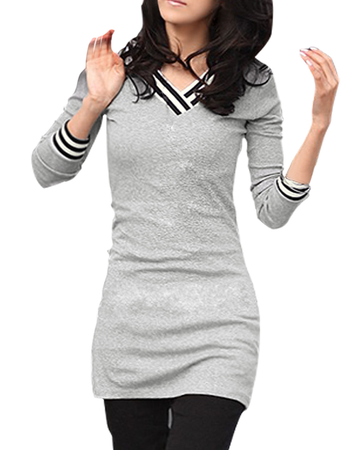 Woman New Fashion Light Gray V-Neck Long Sleeve Tunic Shirt M