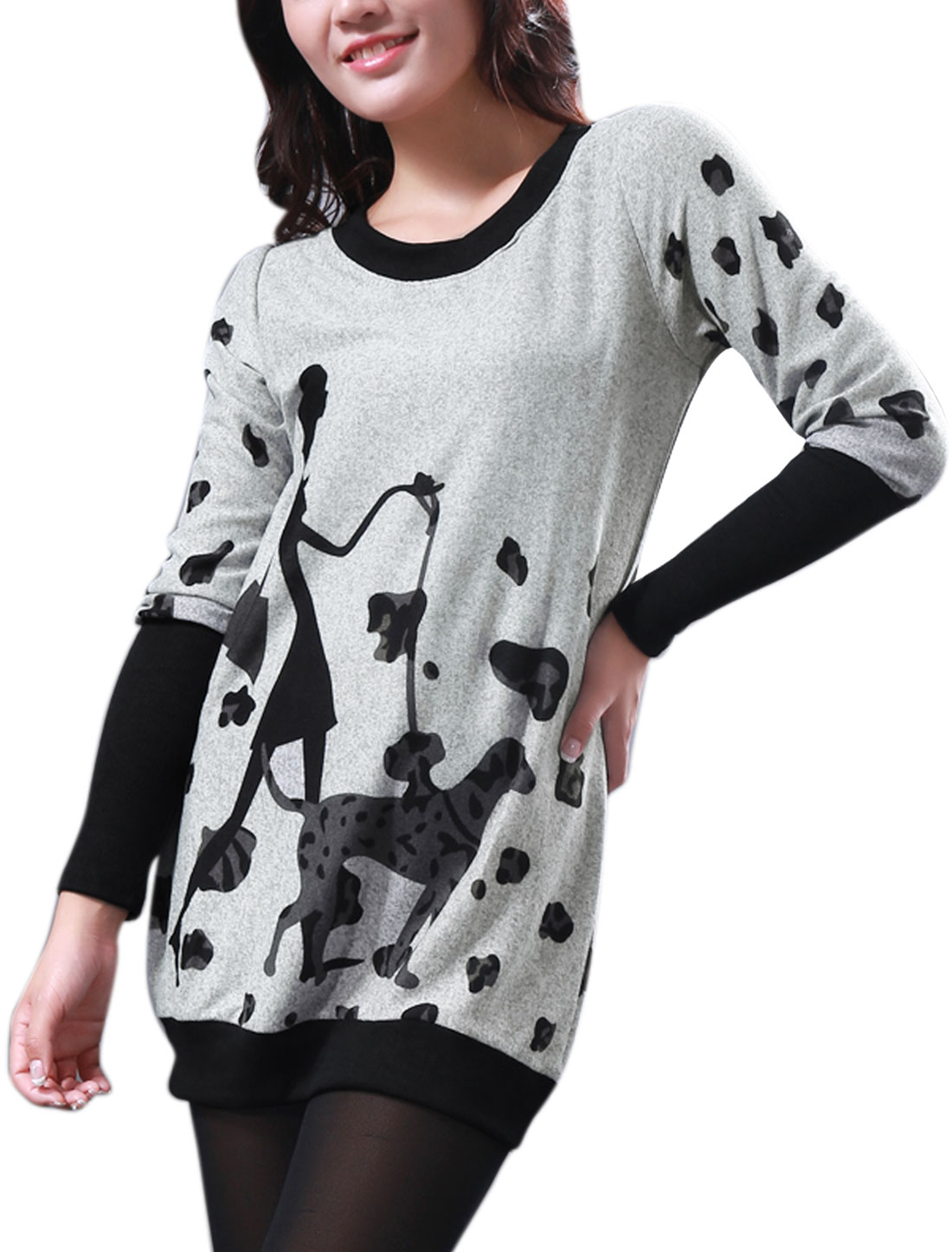 Ladies Chic Round Neck Splcie Long Sleeve Black Light Gray Knitted Top XS