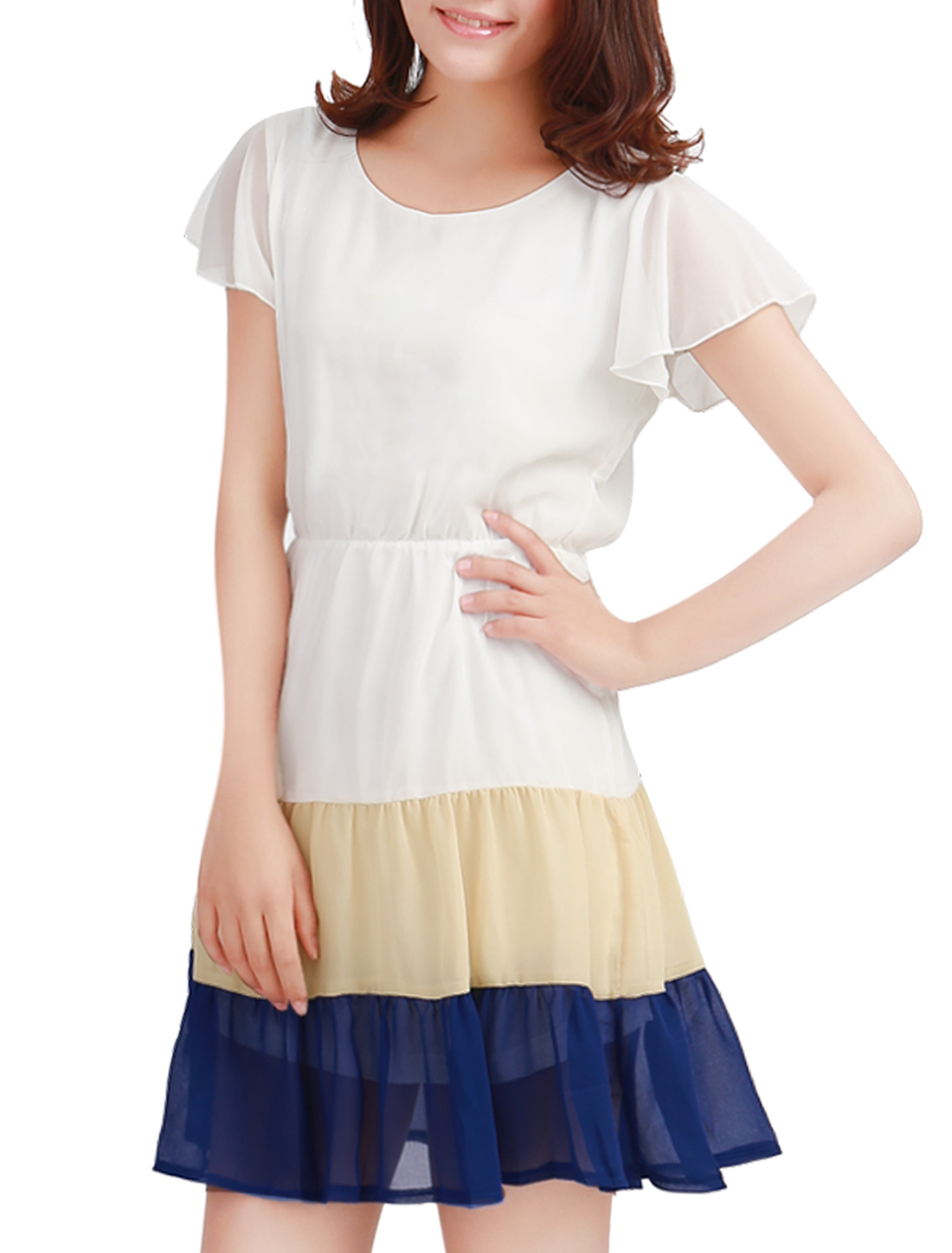 Woman New Fashion Short Flare Sleeve Contrast Color Blue White Mini Dress M