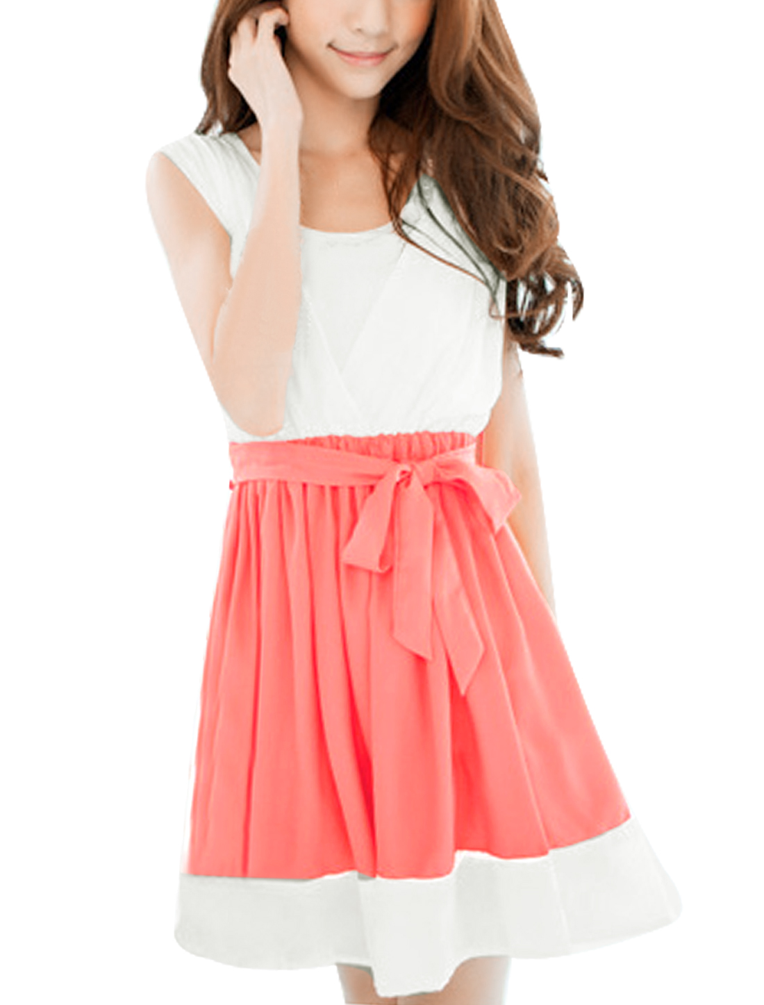 Women Newly Elastic Waist Belted Lined Watermelon Red White Dress w Tube Top XL
