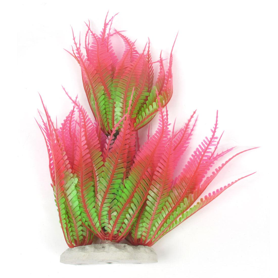 "9.4"" Heigth Pink Green Plastic Aquascaping Aquatic Plant for Fish Tank"