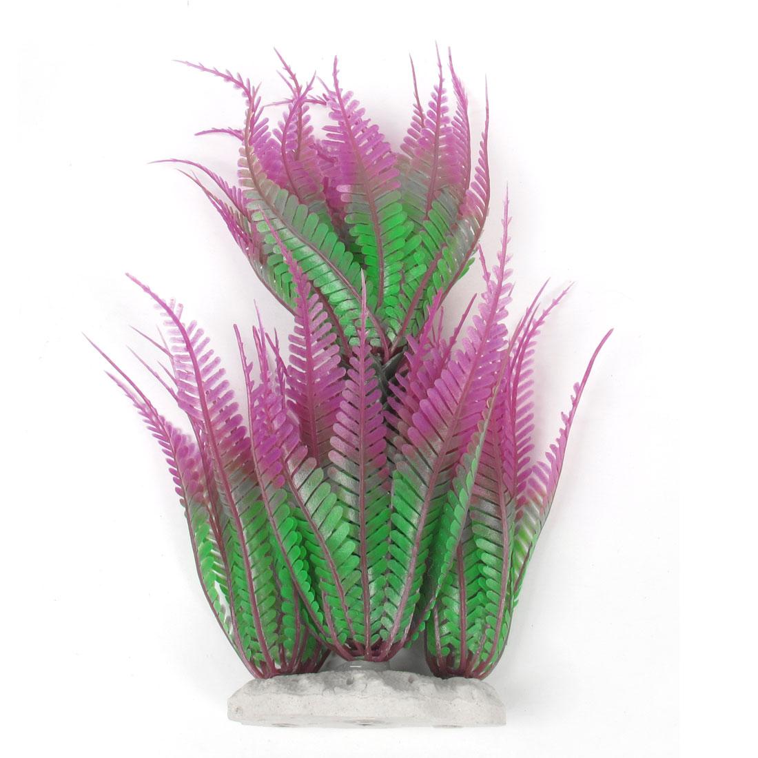 """Aquarium Decorative Fuchsia Green Simulation Plastic Grass Plant 9.4"""" Height"""